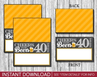 Cheers and Beers to 40 Years Tent Cards - Buffet Cards - Food Labels - Place Cards - Printable Digital File - INSTANT DOWNLOAD