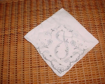 """Vintage """"J"""" Monogramed Embroidered Gray and White Handkerchief Linen ~ Beautiful!"""