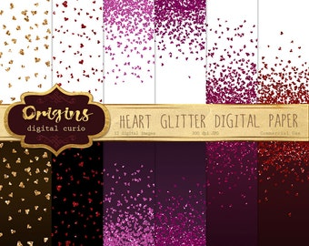 Heart Glitter Digital Paper, red pink and gold hearts confetti backgrounds, Valentine ...