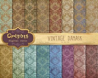 Vintage Damask Digital Paper - Decoupage Scrapbook Paper Pack, Vintage Backgrounds, Damask Patterns Digital Instant Download Commercial Use