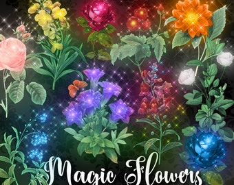 Magic Flower Clipart, glowing sparkle fantasy clip art, digital instant download vintage flower illustration, magical enchantment png