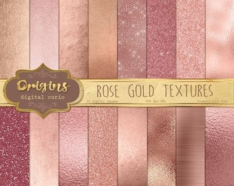 Rose Gold Digital Paper - Rose Gold Textures, Glitter, Gold Foil, Metallic, Brushed Metal Rippled Glass Backgrounds, Instant Download