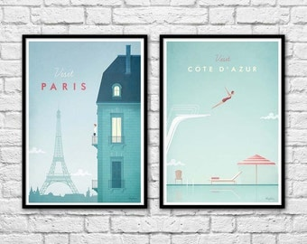 2 Art-Posters 30 x 40 cm - Visit Paris and Côte d'azur Travel Poster