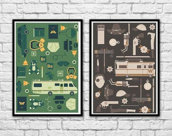 2 Art-Posters 30 x 40 cm - Breaking Bad and Walking Dead  - by Tracie Andrews