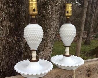 Vintage Milk Glass Hobnail Lamps, Pair of Lamps, Milk Glass, Vintage Milk Glass, Boudoir Lamps, Dresser Lamps, Vanity Lamps, Hobnail