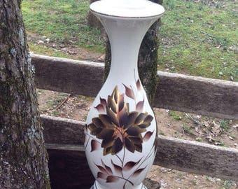 Vintage Table Lamp, Vintage Ceramic Lamp, Vintage Table Lamp, Large Table Lamp, Gold Leaves, End Table Lamp, Mid Century Lamp, MCM