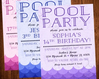Mermaid Pool Party Printable Birthday Invitation (Available in Purple, Blue, or Pink!)