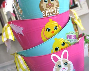 Easter bucket, Personalized Easter basket with bunny or chick, Pink or mint oval tubs