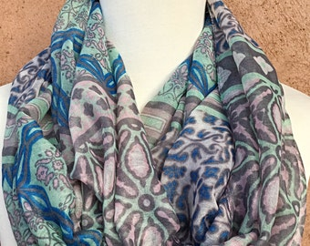 Blue, Mint, Pink and Gray  Infiniti Scarf / Fabric Scarf / Spring Summer Scarf.