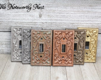 Metallic Light Switch Cover // Single // Outlet Switchplate // Silver Light cover // gold outlet cover // copper switch plate // bronze