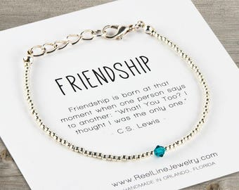 Friendship Bracelet, SILVER with Swarovski Crystal, Best Friend Gift,  Friendship Bracelet, Best Friend Bracelets, Friend Gifts