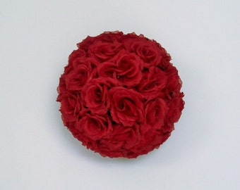Red RoseFlower Ball Pomander Rose Balls Wedding decoration Ball Silk Rose Kissing Ball Faux Flowers/Mutiple sizes/Aisle decor/ Centerpiece