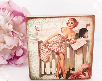 Vintage Pin Up Girl Wooden Standing Plaque...