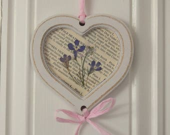 Wooden Heart Frame with Wild Flowers