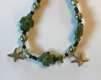 Green Ceramic Turtle Bracelet