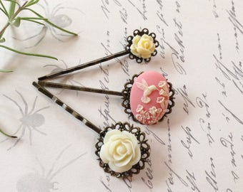 Dainty Off White on Pink Hummingbird And Vintage Floral Hair Clips