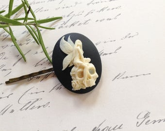 Hair Clip Off White On Black Fairy Sitting On A Skull