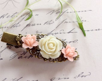 Pink and Ivory Rose Brass Alligator Clip
