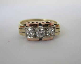 14k Diamond Ring, Anniversary Band, 1920's Jewellery, Tri-colour Rings