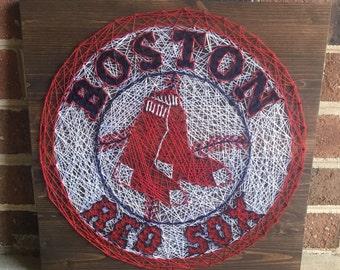 Boston Red Sox Baseball Sports Team String Art Wood Sign Man Cave Wall Art Sports Home Decor