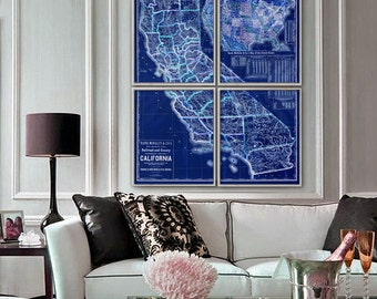 """Map of California 1883, Old California map, in 5 different sizes up to 40x48"""", in 1 or 4 parts, also in blue - Limited Edition - Print 8"""