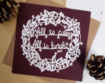 Paper cut Christmas Card, Christmas Wreath Card, Papercut Wreath Card, All is Calm, All is Bright Card, Christmas Carol Card, Handmade card