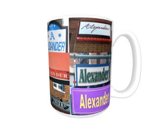 Personalized Coffee Mug featuring the name ALEXANDER in photos of signs; Ceramic mug; Unique gift; Coffee cup; Birthday gift; Coffee lover