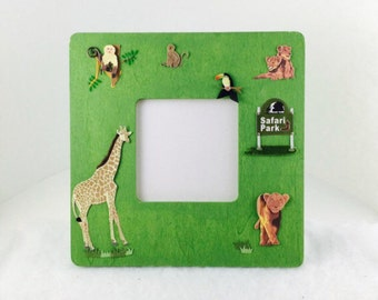 Safari picture frame- custom picture frame- picture frame for kids- custom room decor- green frame-hand painted- gifts under 20