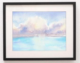 A3 Ocean Storm, Art Print, Abstract Art, Wall Art, Cloud painting, Beach painting, Abstract, Ocean, abstract print, Abstract Painting