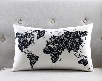 Decorative pillow cover/Map cushion cover/ black white pillow throw/pillow sham