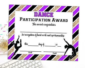 Dance certificate etsy instant download dance team certificate dance award dance printable dance achievement yadclub Image collections