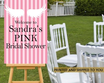 Bridal Shower Welcome Sign - Pink Stripes Sign - Welcome Sign Pink Secrets, Welcome to the Party Sign, Foam Board Sign