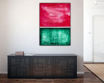 Original Green Abstract Painting on Canvas , Green Red White , 39x27 Modern Wall Art ,Home Decor