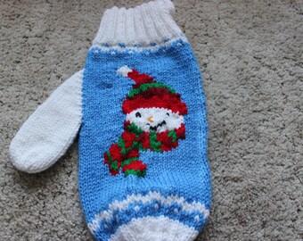 Blue Snowman Mitten