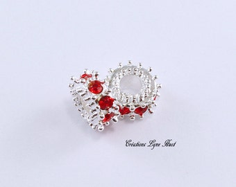 Choose 1. 3 or 5 European style charm beads , with red rhinestones!