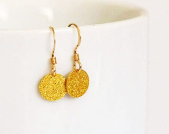 Dainty Gold Disc Earrings, Tiny Gold Circle Earrings, Everyday Gold Earrings, Stardust Earrings, Gold Dot Earrings