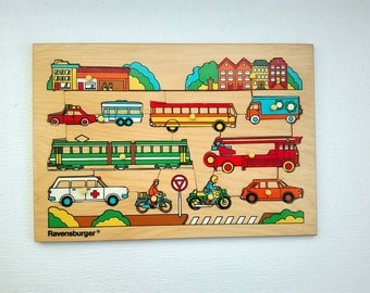 Wooden Puzzle Ravensburger, Germany,Vehicles, Red Cross Car, Ambulance,Fire Engine, Cars, Train, Vintage 1970's