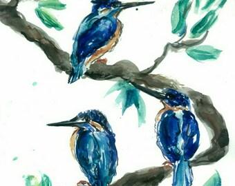 Three Kingfishers Original Watercolor PRINTABLE birds Wall Art nature