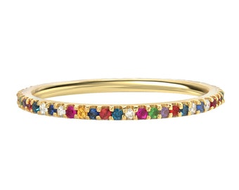 Rainbow eternity band, birthstones eternity ring