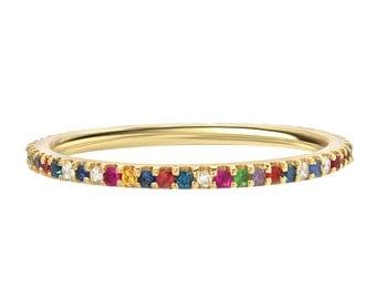 Rainbow eternity band, birthstones eternity ring