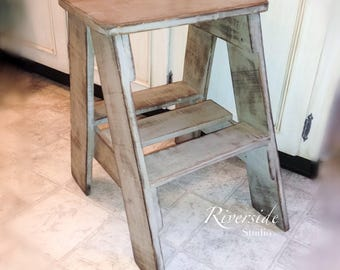 Rustic Wood Step Stool / Shabby Chic Furniture / Bedroom Side Table /  Cottage Farmhouse Step