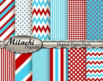 60% OFF SALE Dr. Seuss Digital Paper, Stripes, Chevron, Polka Dots, Commercial Use, Instant Download - M23