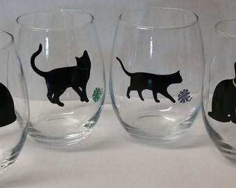 Set of 4 Playful Cat Stemless Wine Glasses | Cat Lover | Friend Gift | Christmas Gift