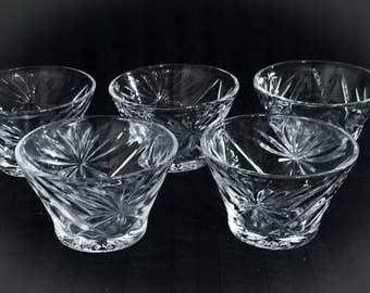 Pineapple Pattern Prescut Glass Sherbets, Clear Glass Custard Cups Set of 4