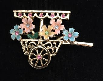 BJ Flower Cart Brooch / Pin