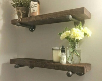 SET OF 2 - Rustic wood shelves with industrial pipe mount || pipe wood shelf || bathroom shelf || industrial chic shelves