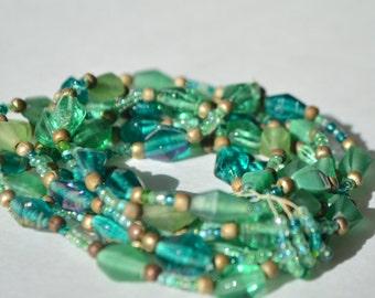 Vintage Green Matte Art Glass Bead Seven Multi Layer Stretchy Bracelet