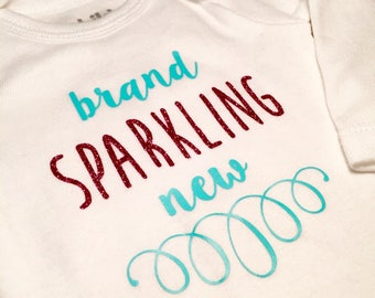 Cute girl onesie, baby newborn, glitter shirt, Brand Sparkling New, baby shower gift idea, new baby, going home outfit girl