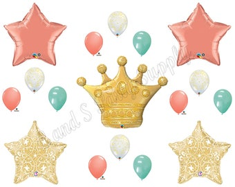 PRINCESS CORAL MINT Gold Birthday Party Balloons Decoration Supplies Baby Shower First Teen