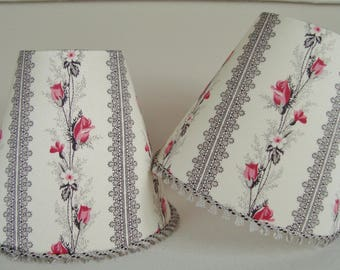 Lampshade vintage French fabric rose stripe 11 x 13 cm / 4.3 x 5.1 ins for Wall Light or chandelier